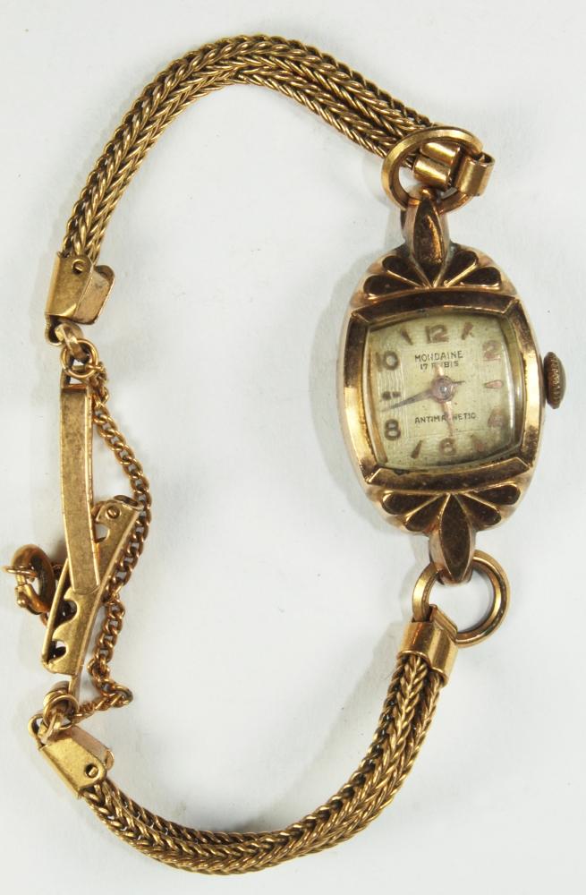 658cb9acea2 Zoom. Lote 137. Carregando... Tipo  Relógio. Antigo relógio de pulso  feminino Mondaine 17 Rubis Magnetic Pulseira Plaque Ouro ...
