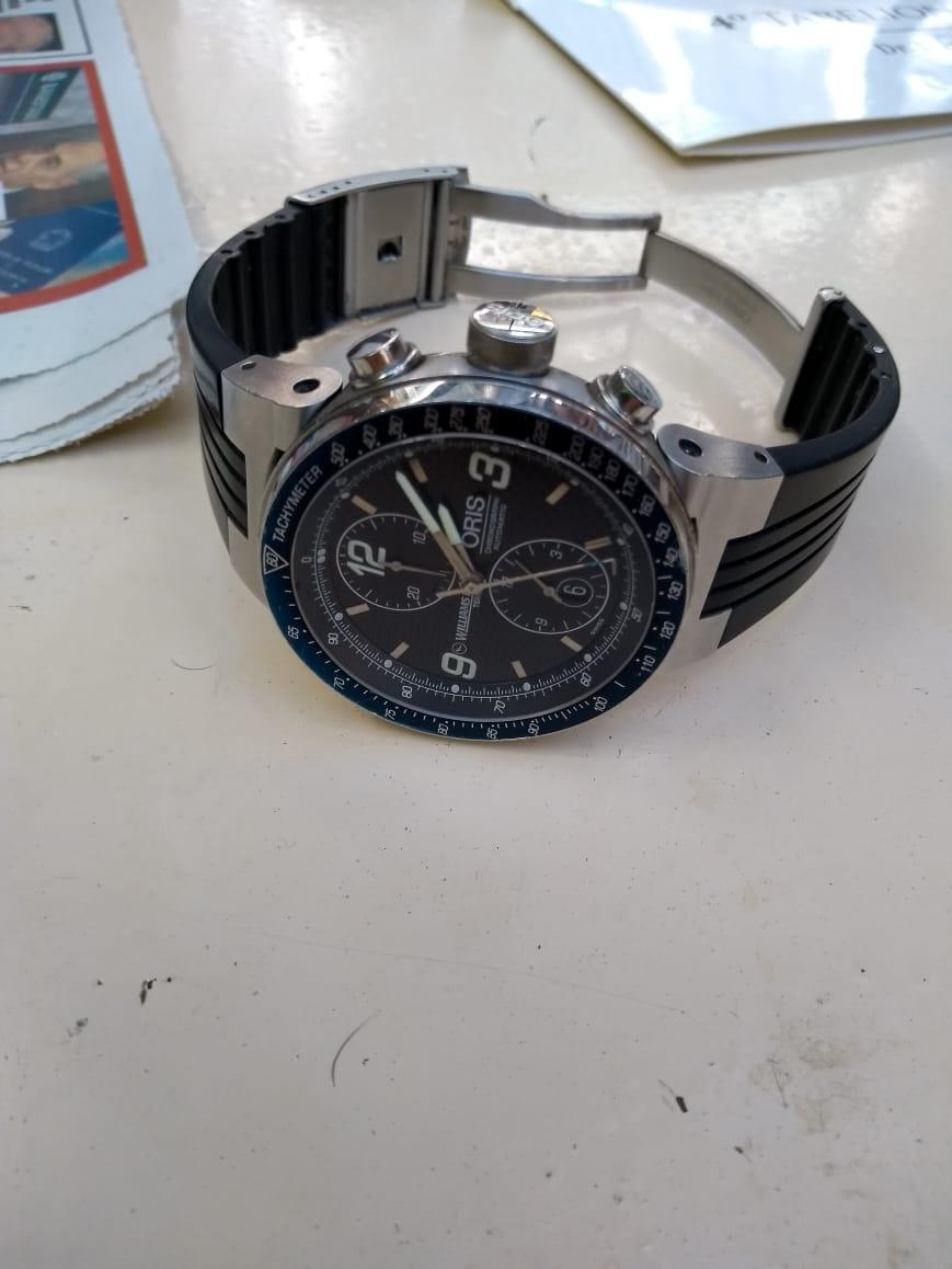 bd1a1f15f08 1 Relógio Oris Aço Chrono Pulseira de Borracha 44Mm