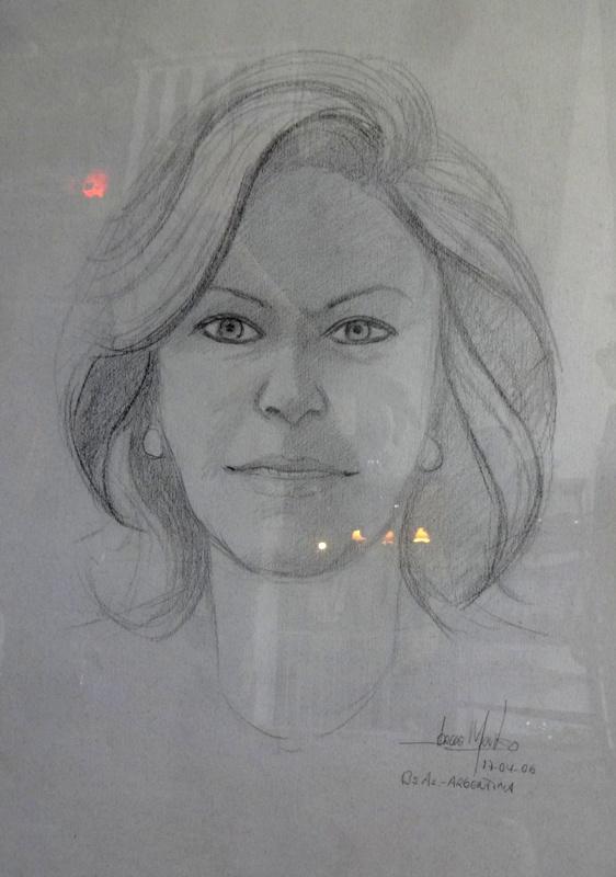 Desenho Rosto De Mulher Assinado Com Moldura 63x48c