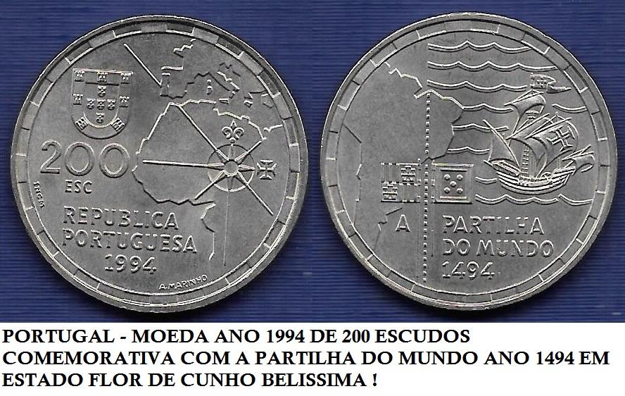 PORTUGAL 200 ESCUDOS A PARTILHA DO MUNDO 1994