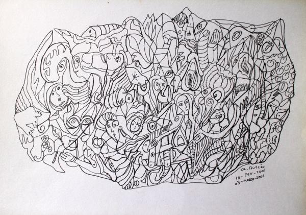 ATHOS BULCÃO, desenho, 30 x 21 cm, cid, 2001