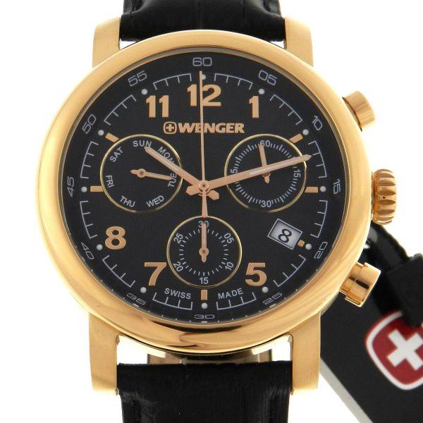 2f068c50637 Relógio Wenger Swiss Army Military - Urban Classic Chronograph Rose Gold -  Caixa em aço com plaque de ouro rosa - Pulseira em couro - Tamanho da .
