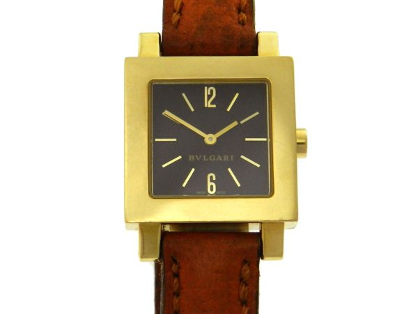 c0491b47cc5 Relógio Bulgari Bvlgari Quadrato - Caixa em ouro amarelo 18k - Pulseira em  couro - Tamanho da caixa 22mm x 22mm ( Sem contar garras ou coroa) - .