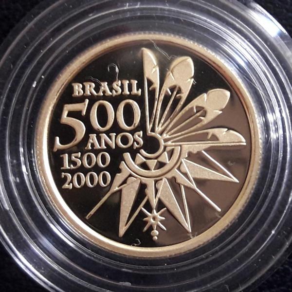 4 - Moeda OURO Brasil COMEMORATIVA 500 ANOS DESCOBRIMENTO 20 Reais de 2000. Peça escassa Peso 8gr.