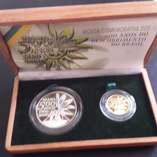 1a - Estojo 500 Anos Brasil Moeda de PRATA e OURO. Escasso este estojo contendo as duas moedas comem