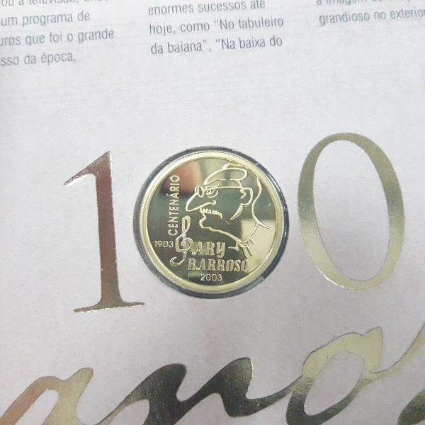 10a - Moeda Brasil de OURO 100 anos  Ary Barroso, peso 8 Gramas. No cartela original