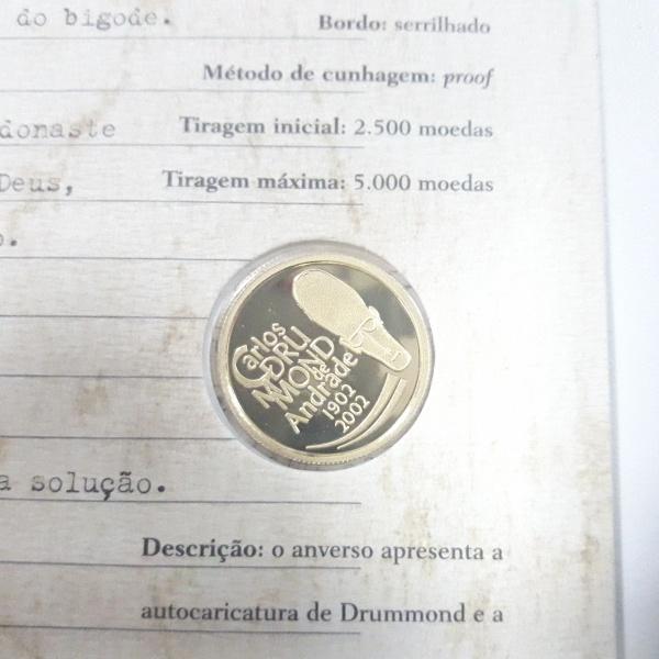 11a - Moeda Brasil de OURO 100 anos  Carlos Drummond de Andrade, peso 8 Gramas. No cartela original