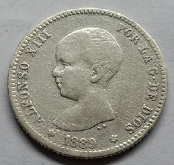 MOEDA DA ESPANHA - 1 PESETA - 1889(89) - MUITO RARA