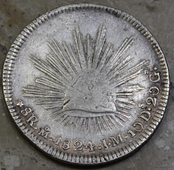 México - 8 reales - República mexicana - base patacão - 1824 JM