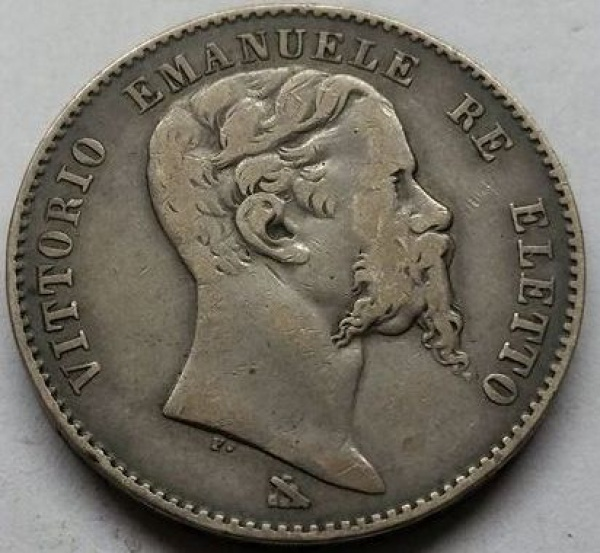 MOEDA DA ITÁLIA - 1860 - VITTORIO EMANUELE - 2 LIRAS FIRENSE - RARA