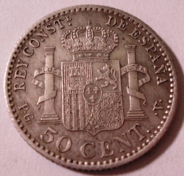 MOEDA DA ESPANHA - 50 CENTIMOS - 1896 - RARA