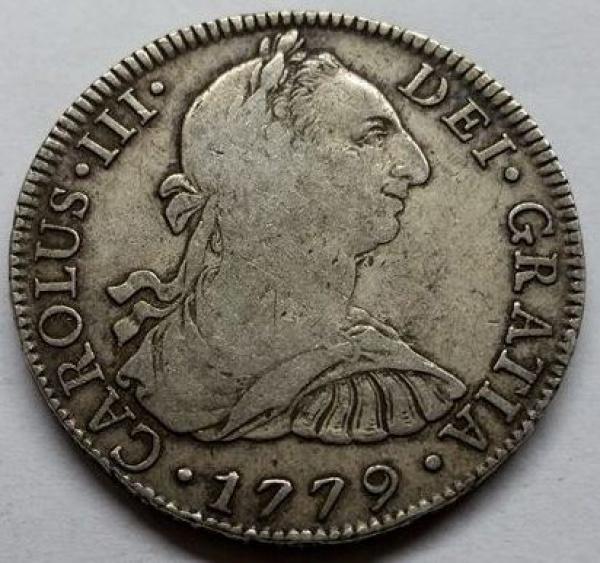 MOEDA DO MÉXICO - 8 REALES - CARLOS III - 1779