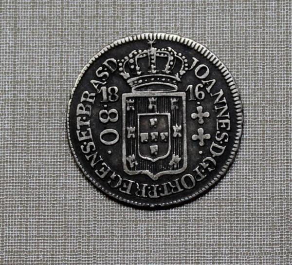 MOEDA DO BRASIL - 80 RÉIS - 1816 R - SOB/FC - RARO