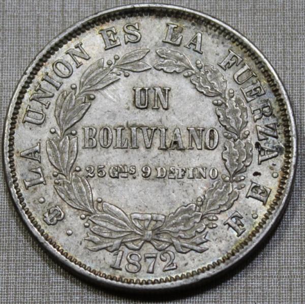 MOEDA DA BOLÍVIA - 1 BOLIVIANO - 1872 - ERRO EA FUERZA - RARA