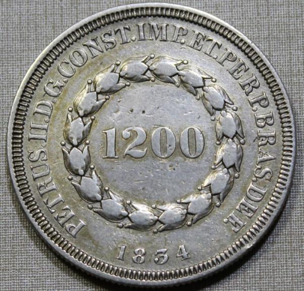 MOEDA DO BRASIL - 1200 RÉIS - 1854