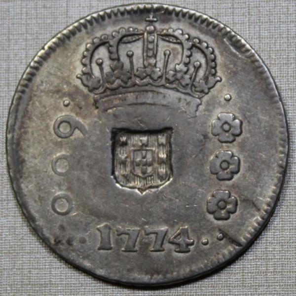 MOEDA DO BRASIL - 600 RÉIS - 1774 - R COM ESCUDETE