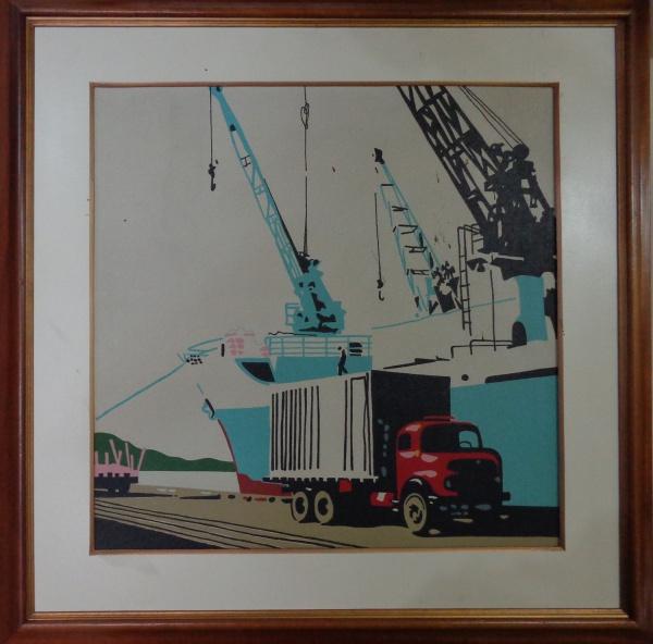 FC002, NEWTON MESQUITA, óleo sobre tela, representando porto, medindo 59 x 59 cm.
