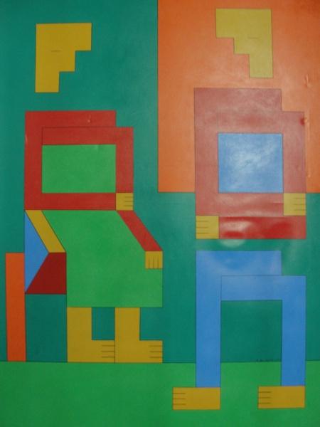 "FC002, DIONÍSIO DEL SANTO, óleo sobre tela, ""Casal"", medindo 90 x 120 cm. Sem moldura."