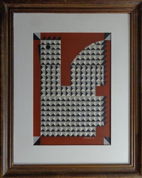 """FC000, J. TENREIRO, óleo sobre tela colada em madeira, """"Galo"""", medindo 38 x 55 cm."""