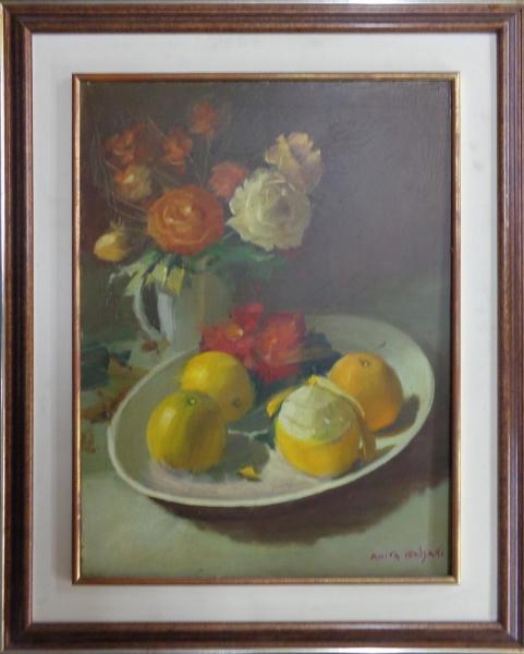 """FC033, ANITA MALFATTI, óleo sobre tela, """"Natureza Morta com Frutas e Flores"""", medindo 47 x 62 cm. Acompanha documentação de autenticidade da família da artista."""