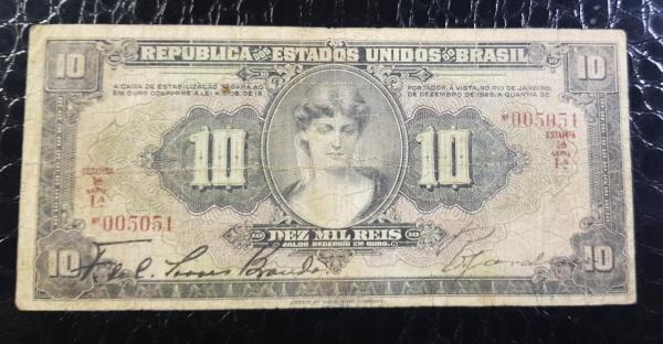 CÉDULA 10 MIL RÉIS R-184 REPÚBLICA 1927 MBC-