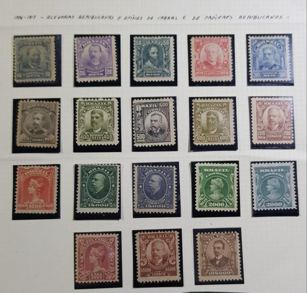 Selos regulares Alegoria Republicana  1906/17- RHM- 136/153 - Série NOVA - Completa - RHM 1167 UFs