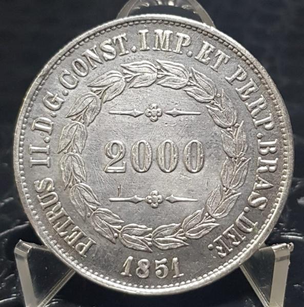 MOEDA PRATA 2.000 RÉIS 1851 P-570 IMPÉRIO SOB/FE LINDA