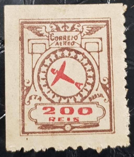 SELO BRASIL  ETA- 1929  200 RÉIS  1ª TIRAGEM  E-1  NOVO C/ CHARNEIRA  500 UFs  - escasso