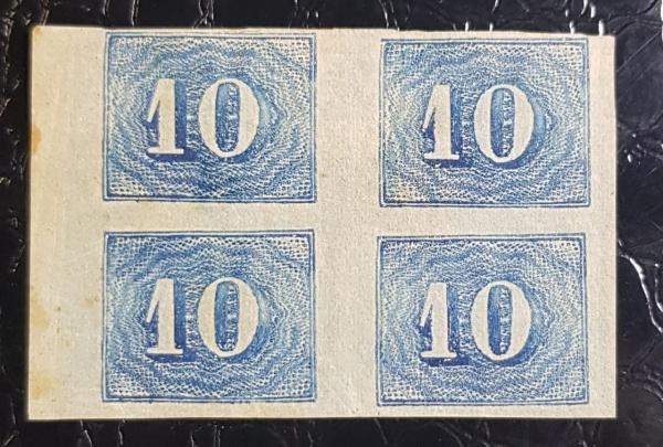 QUADRA 10 RÉIS-  VERTICAL COLORIDO- R-19  1854  NOVA- 360 UFs