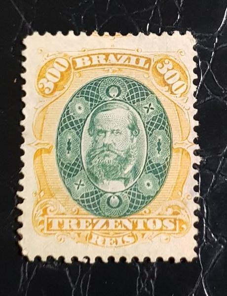 SELO IMPERIO 300 RÉIS RHM 47  1878 AURIVERDE  250, UFs - NOVO