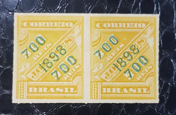 SELOS BRASIL PAR JORNAIS- R-119Ve VERDE/LARANJA 1899- 500 UFs