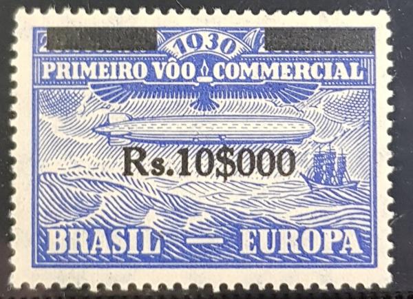 SELO BRASIL ZEPPELIN 1930  10$000/20 REÍS  SOBRESTAMPADO  Z-5  NOVO 1ª COLUNA  650 UFs