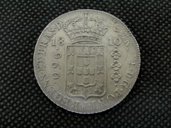 Brasil Colônia, moeda de prata de 960 réis PATACÃO  de 1810 letra R. Variada 76B. Rara. Bom estado de conservação. Capa de nosso catálogo