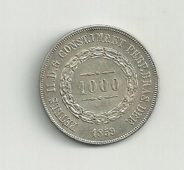 MOEDA DO BRASIL - PRATA - 1000 REIS - 1859