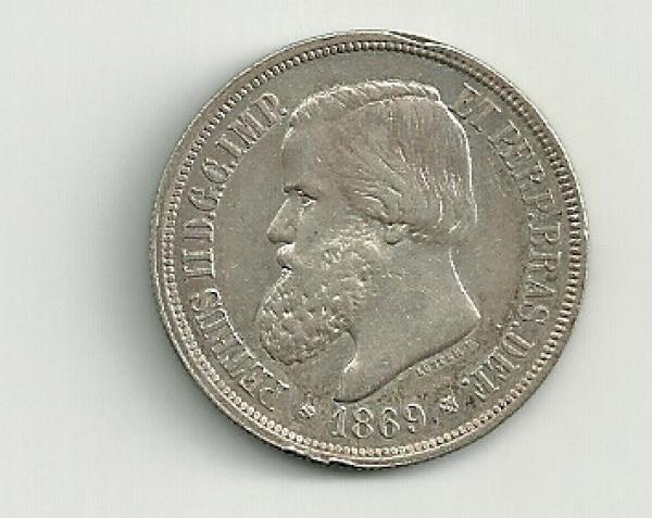 MOEDA DO BRASIL - PRATA - 1000 REIS - 1869