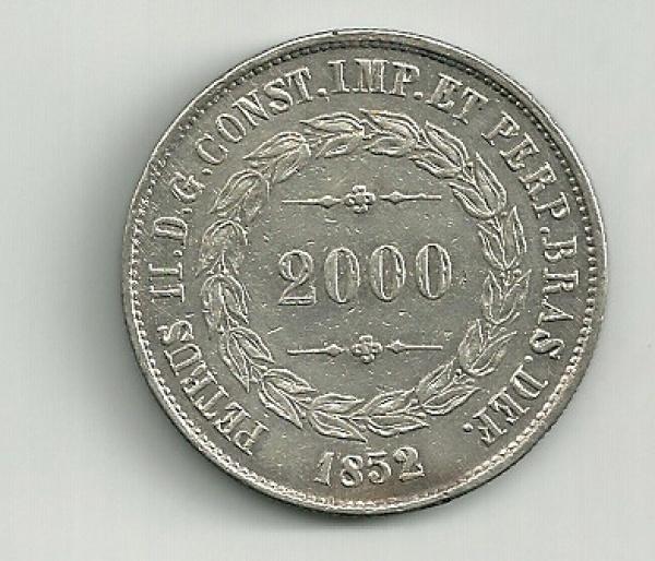 MOEDA DO BRASIL - PRATA - 2000 REIS - 1852