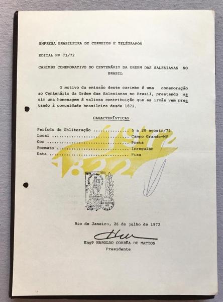 RARA COLEÇÃO DE EDITAIS INTERNOS DO CORREIO - N 73/72 - 1972