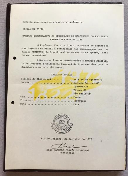 RARA COLEÇÃO DE EDITAIS INTERNOS DO CORREIO - N 75/72 - 1972