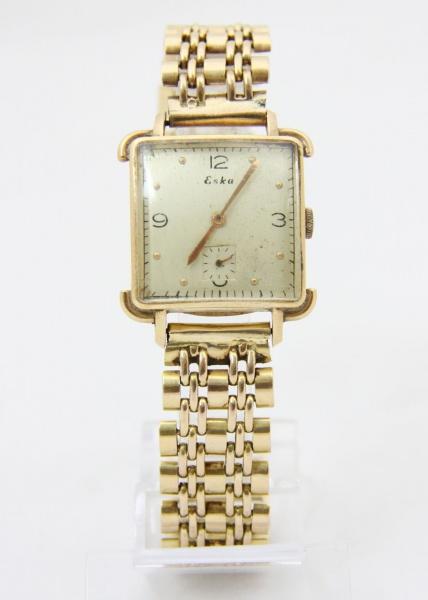 7e6548eb6ef ESKA - Relógio em ouro ESKA - Relógio com caixa e pulseira em ouro 18 k.  Feitio quadrado