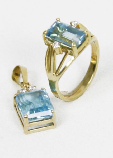 72bd7593e7d Excepcional conjunto em ouro 18 k brilhantes e topázios composto de anel e  pingente. 8