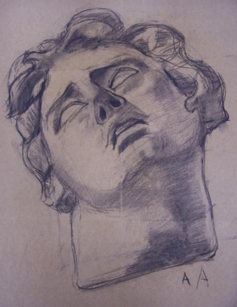 A A Rosto Homem Grego Desenho Sobre Papel Carvao C