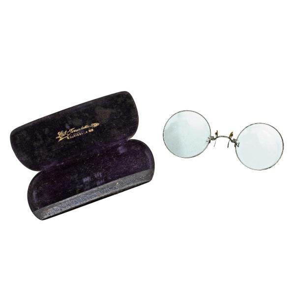 a8a1c3b26 Antigo óculos de grau sem hastes, fabricado em metal tr