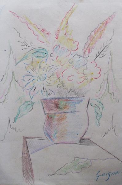 Autor Desconhecido Vaso C Flores Desenho Colorido G