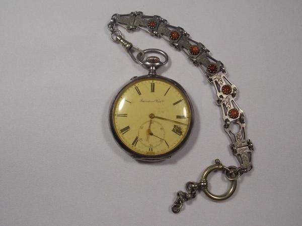 13eac510817 Antigo Relógio de Bolso - Americano - de Prata - international - com  corrente .