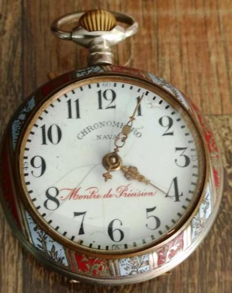 acc3f4ea73e Antigo relógio de bolso MONTRE DE PRECISION - CHRONOMETRO NAVAL - Caixa  toda trabalhada . Belíssima peça. Possui algumas trincas no mostrador  interno.