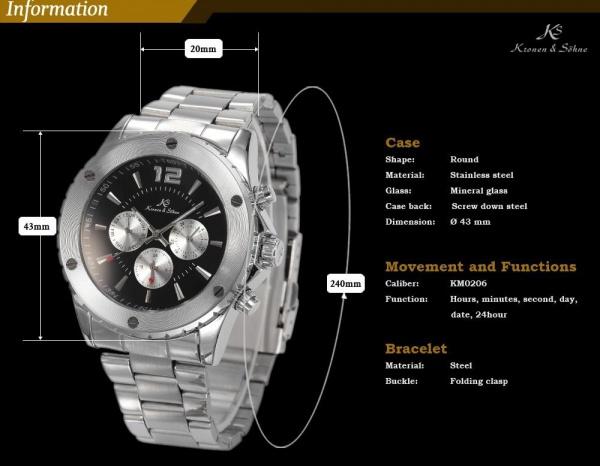 6cfe0133fe1 Relógio Kronen   Sohne navigator pulseira e caixa de aço T