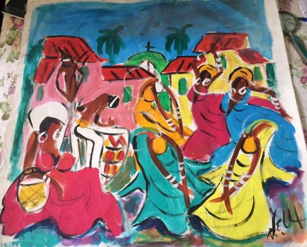 Arte Popular- Linda pintura retratando cena baiana. Tela sobre acrílico. Med .89x80cm fcd2c992862