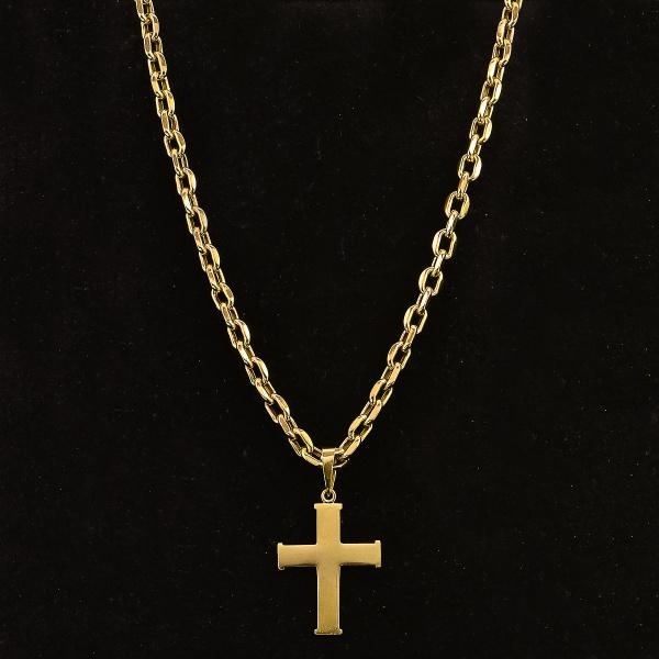 33207a411521e Cordão masculino em ouro 750 com pingente em cruz,comprimento cordão 60 cm  e 4 cm do pingente peso total 42.5 gr.