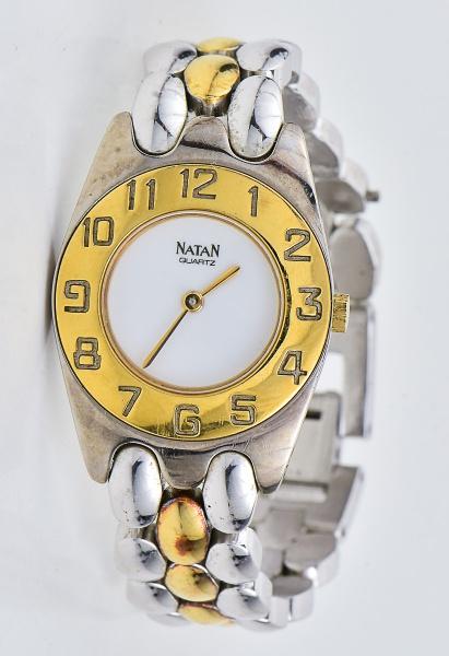 13481d93825 Relógio NATAN feminino dourado e prateado com certifica