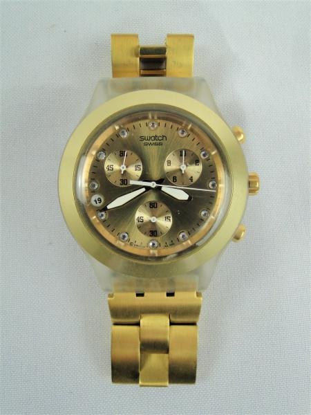 76c52a3c3c Relógio SWATCH irony diaphane em Aço Inox Dourado com Strass. MARAVILHOSO!  Relógio ORIGINAL! Em PERFEITO estado! Sem bateria. Sem teste de .